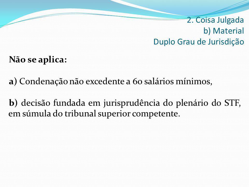 Não se aplica: a) Condenação não excedente a 60 salários mínimos, b) decisão fundada em jurisprudência do plenário do STF, em súmula do tribunal super