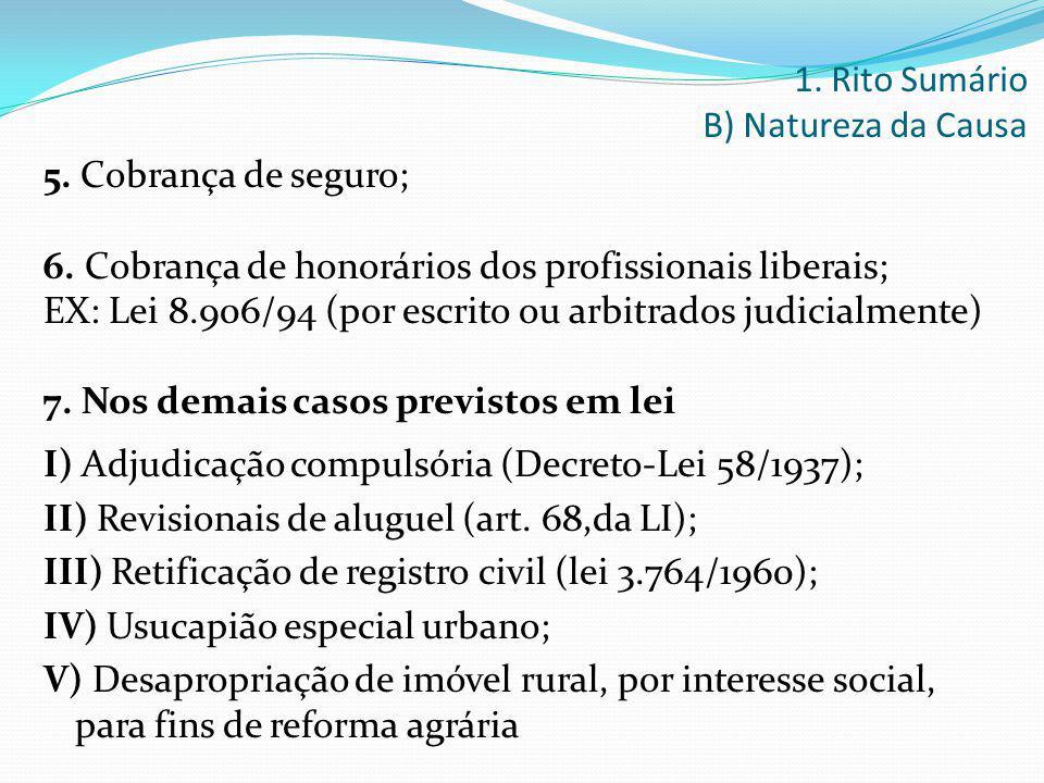 5. Cobrança de seguro; 6. Cobrança de honorários dos profissionais liberais; EX: Lei 8.906/94 (por escrito ou arbitrados judicialmente) 7. Nos demais