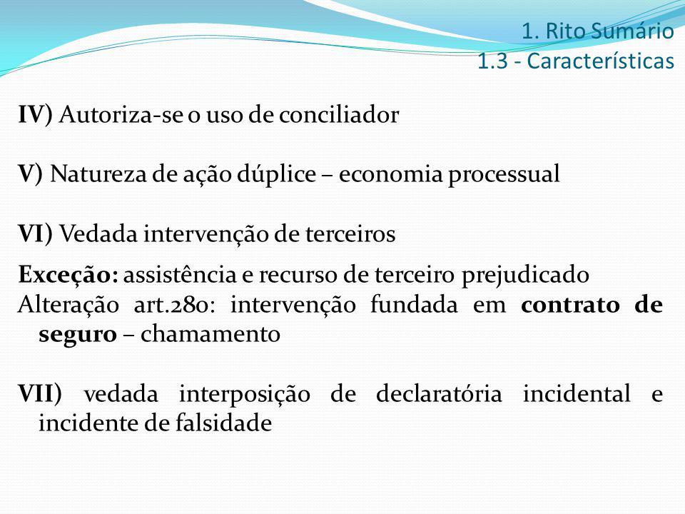IV) Autoriza-se o uso de conciliador V) Natureza de ação dúplice – economia processual VI) Vedada intervenção de terceiros Exceção: assistência e recu