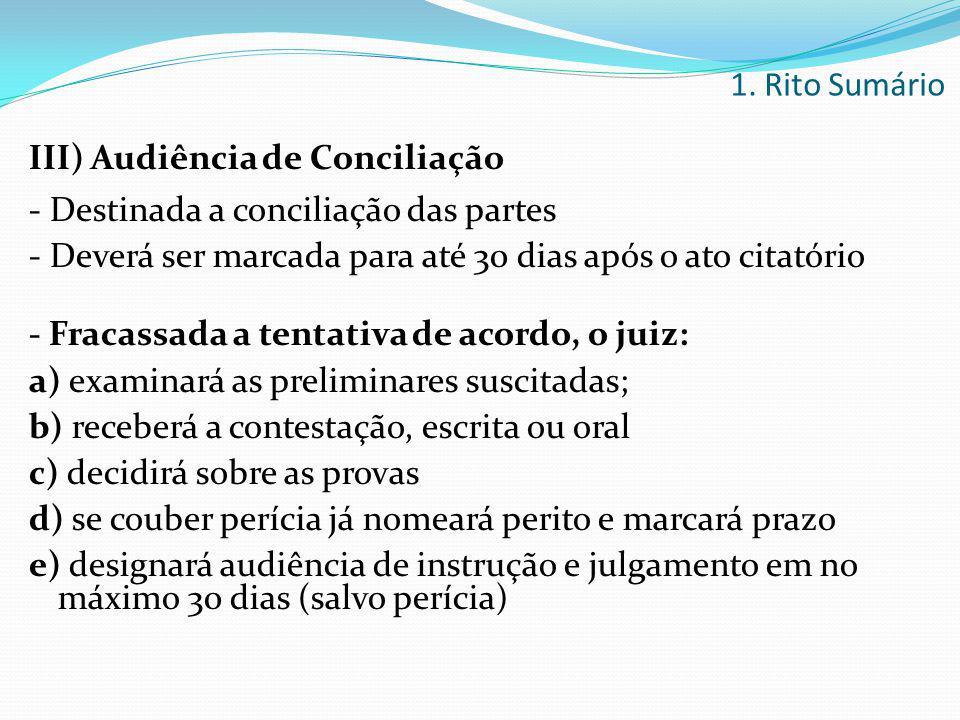 III) Audiência de Conciliação - Destinada a conciliação das partes - Deverá ser marcada para até 30 dias após o ato citatório - Fracassada a tentativa