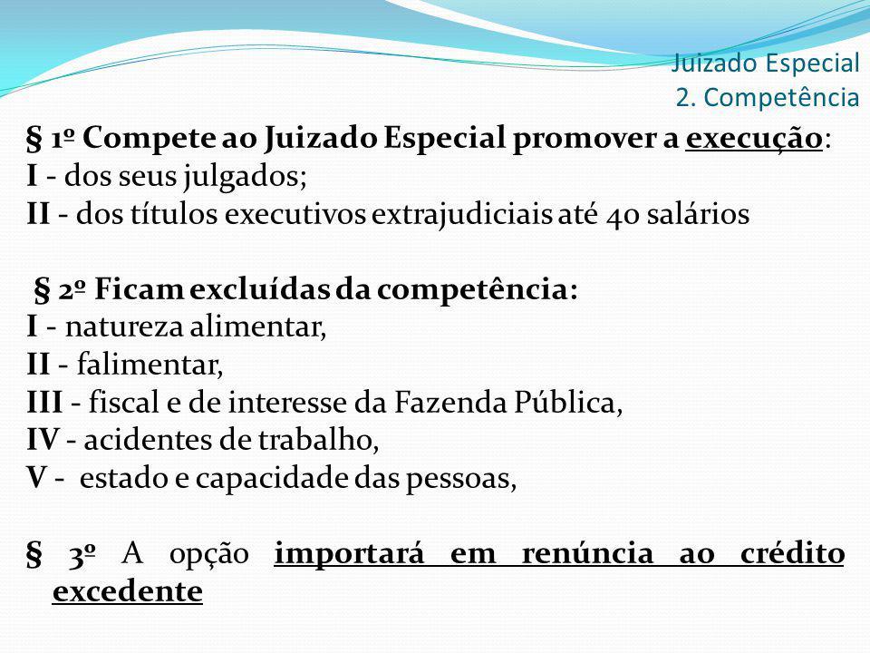 § 1º Compete ao Juizado Especial promover a execução: I - dos seus julgados; II - dos títulos executivos extrajudiciais até 40 salários § 2º Ficam exc