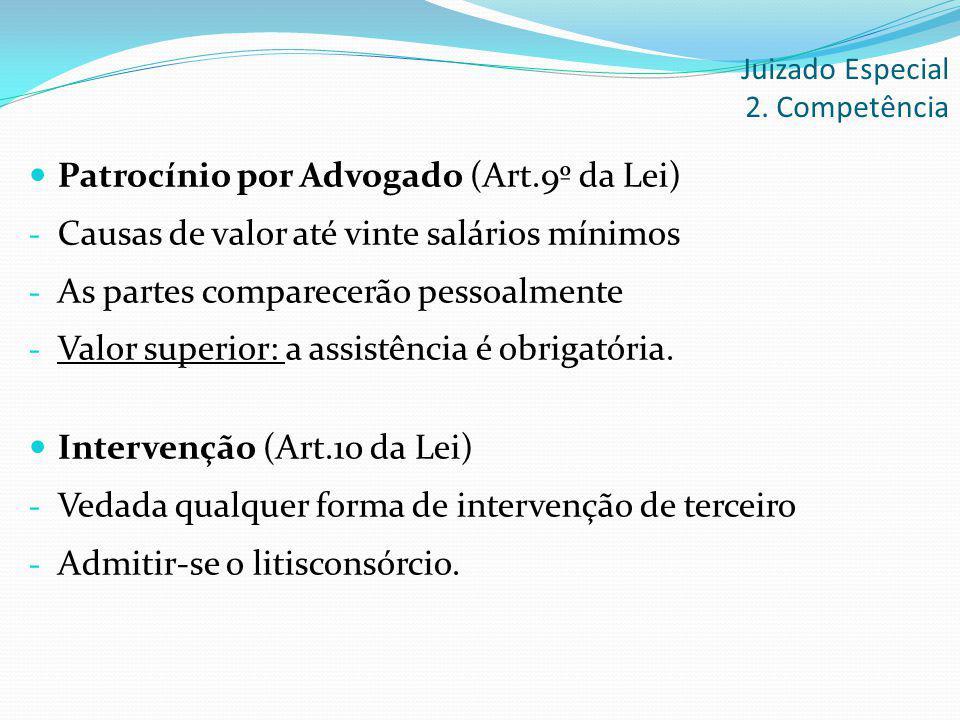 Patrocínio por Advogado (Art.9º da Lei) - Causas de valor até vinte salários mínimos - As partes comparecerão pessoalmente - Valor superior: a assistê