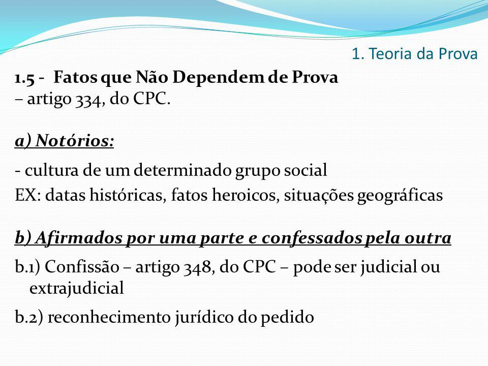 1.5 - Fatos que Não Dependem de Prova – artigo 334, do CPC. a) Notórios: - cultura de um determinado grupo social EX: datas históricas, fatos heroicos