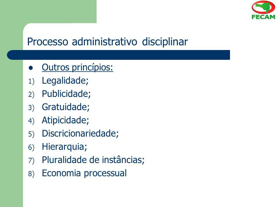 Processo administrativo disciplinar Outros princípios: 1) Legalidade; 2) Publicidade; 3) Gratuidade; 4) Atipicidade; 5) Discricionariedade; 6) Hierarq