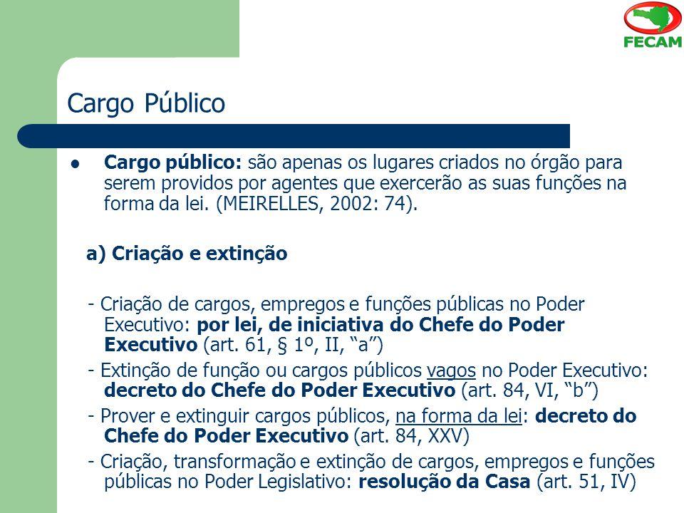 Cargo Público Cargo público: são apenas os lugares criados no órgão para serem providos por agentes que exercerão as suas funções na forma da lei. (ME
