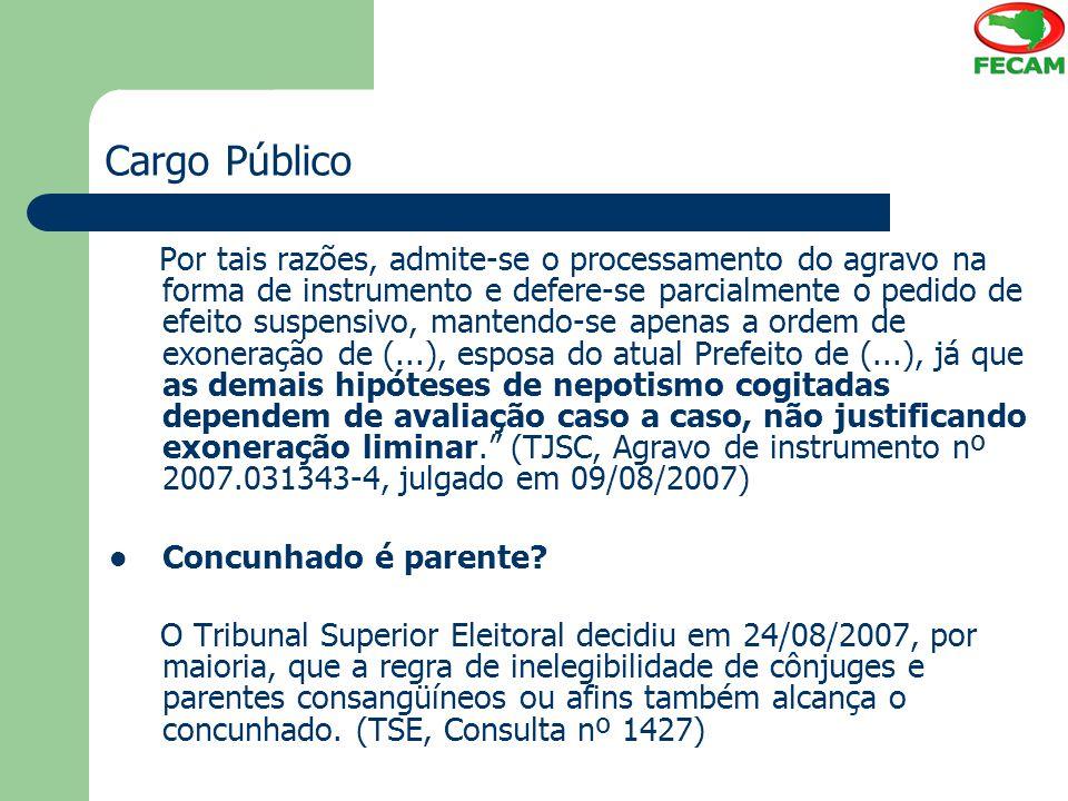 Cargo Público Por tais razões, admite-se o processamento do agravo na forma de instrumento e defere-se parcialmente o pedido de efeito suspensivo, man