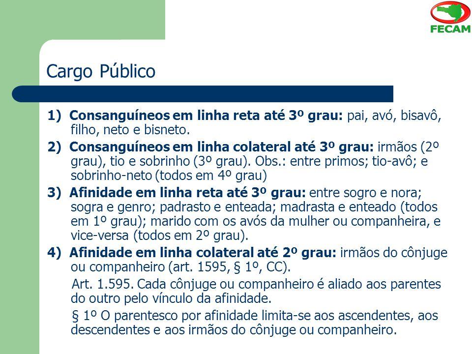 Cargo Público 1) Consanguíneos em linha reta até 3º grau: pai, avó, bisavô, filho, neto e bisneto. 2) Consanguíneos em linha colateral até 3º grau: ir