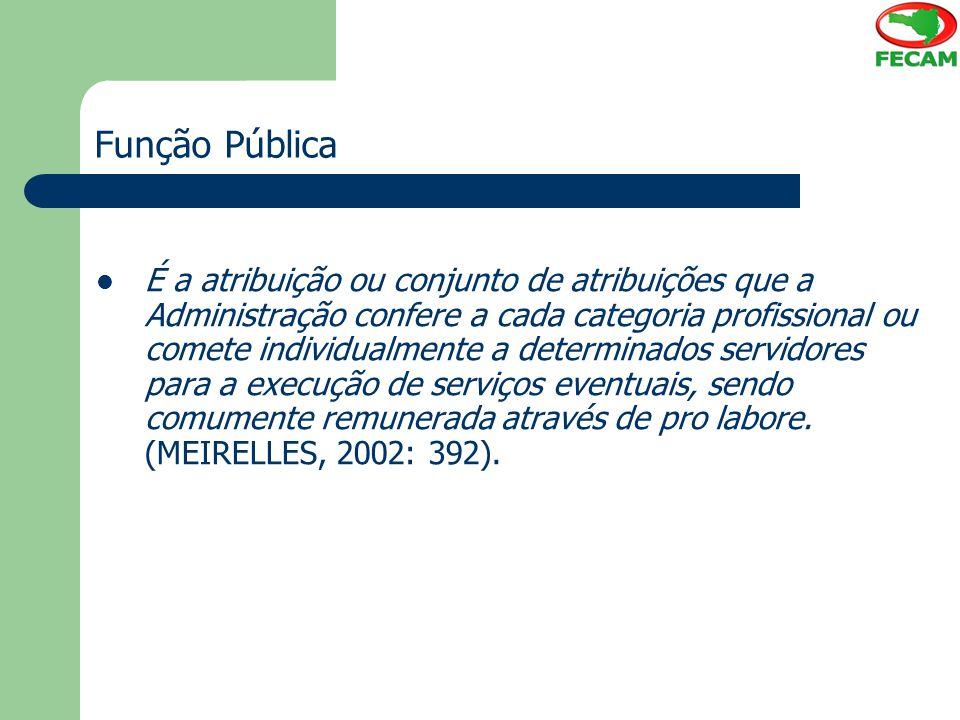 Função Pública É a atribuição ou conjunto de atribuições que a Administração confere a cada categoria profissional ou comete individualmente a determi