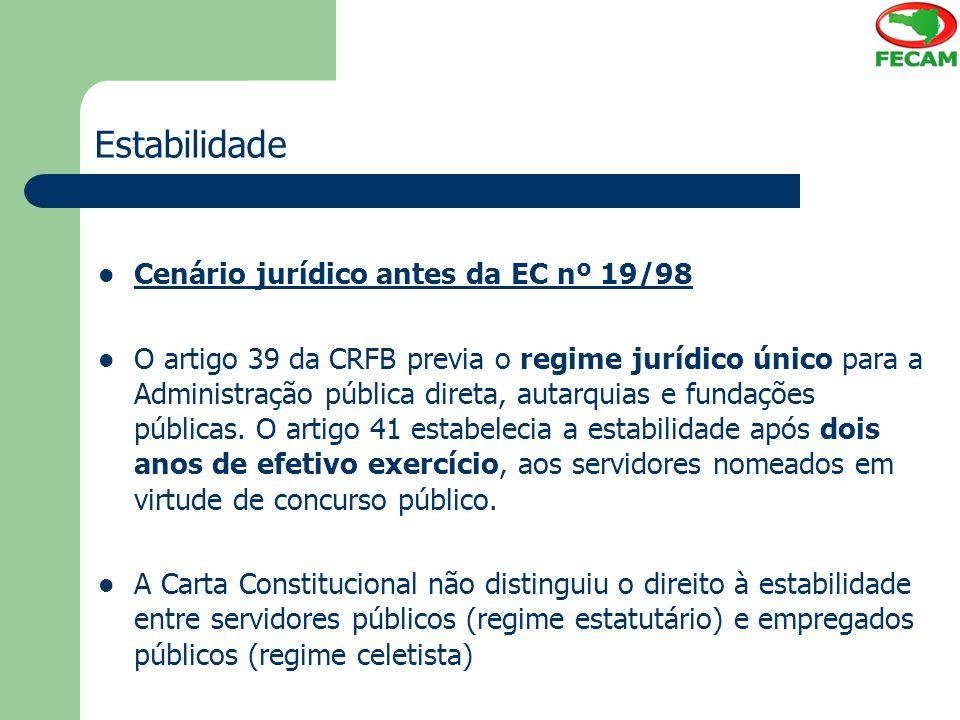 Estabilidade Cenário jurídico antes da EC nº 19/98 O artigo 39 da CRFB previa o regime jurídico único para a Administração pública direta, autarquias