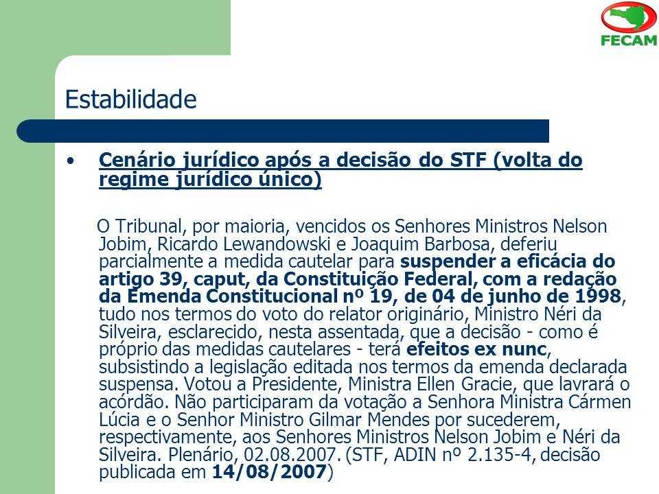 Estabilidade Cenário jurídico após a decisão do STF (volta do regime jurídico único) O Tribunal, por maioria, vencidos os Senhores Ministros Nelson Jo