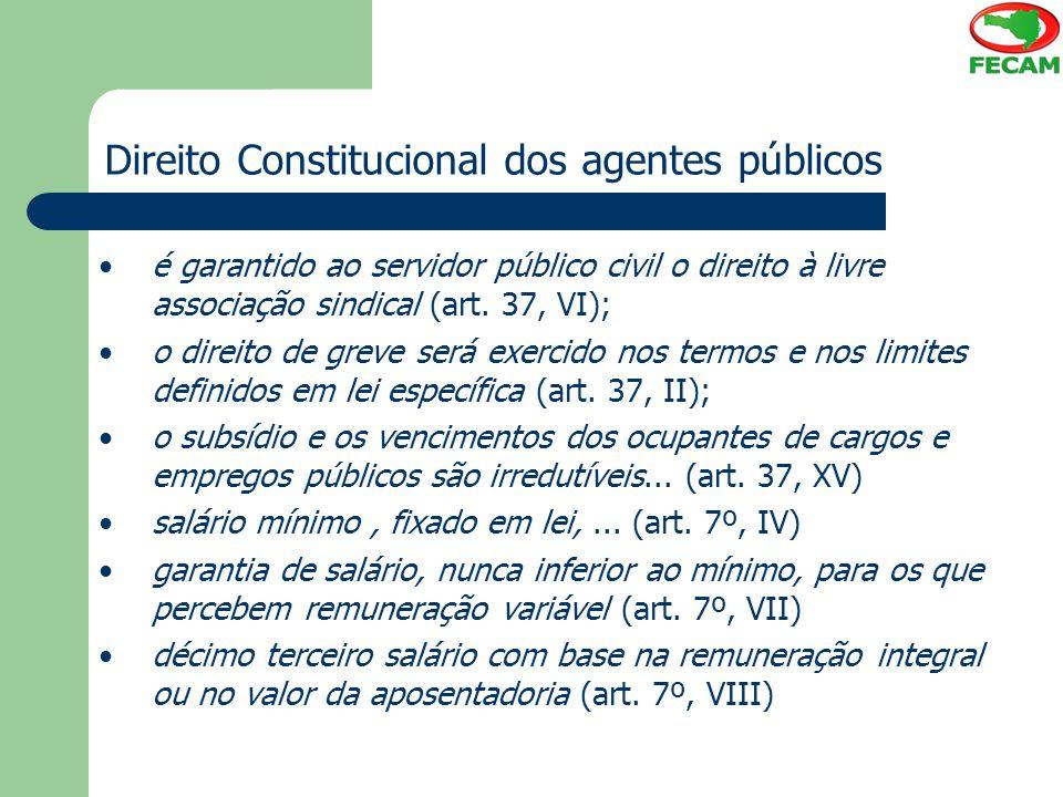 Direito Constitucional dos agentes públicos é garantido ao servidor público civil o direito à livre associação sindical (art. 37, VI); o direito de gr