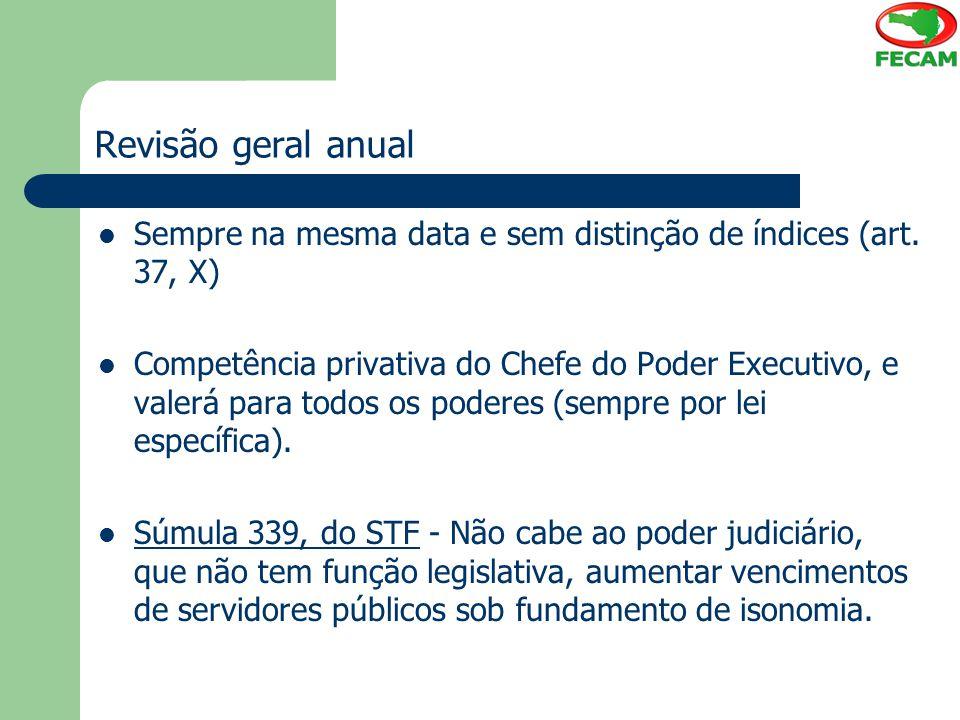 Revisão geral anual Sempre na mesma data e sem distinção de índices (art. 37, X) Competência privativa do Chefe do Poder Executivo, e valerá para todo