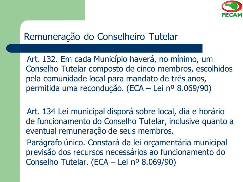 Remuneração do Conselheiro Tutelar Art. 132. Em cada Município haverá, no mínimo, um Conselho Tutelar composto de cinco membros, escolhidos pela comun