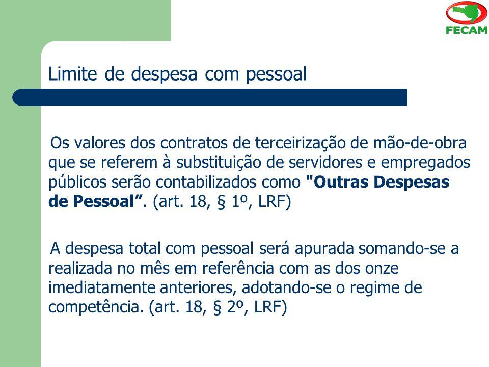 Limite de despesa com pessoal Os valores dos contratos de terceirização de mão-de-obra que se referem à substituição de servidores e empregados públic