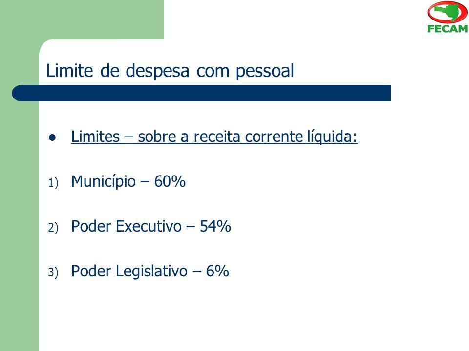 Limite de despesa com pessoal Limites – sobre a receita corrente líquida: 1) Município – 60% 2) Poder Executivo – 54% 3) Poder Legislativo – 6%