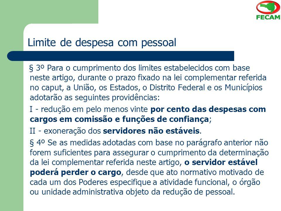 Limite de despesa com pessoal § 3º Para o cumprimento dos limites estabelecidos com base neste artigo, durante o prazo fixado na lei complementar refe