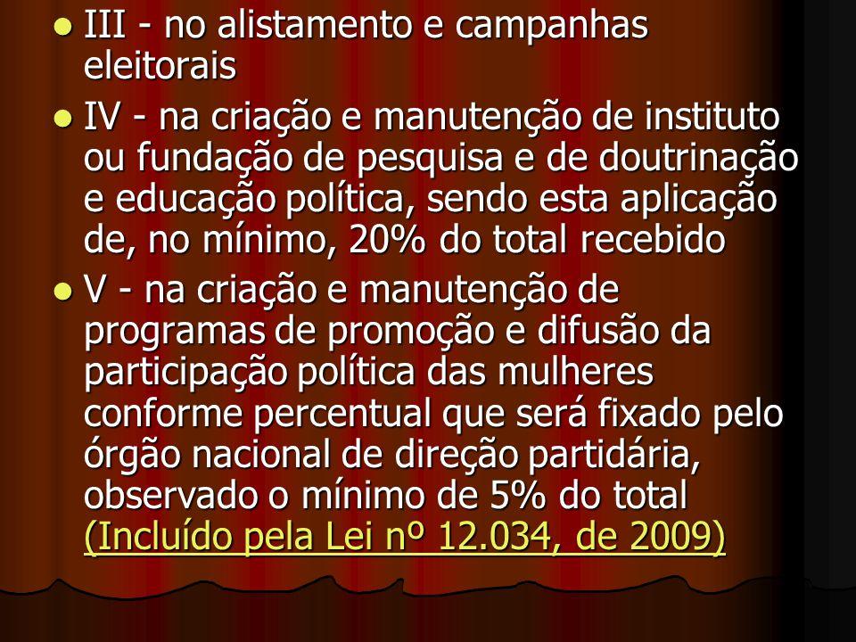 III - no alistamento e campanhas eleitorais III - no alistamento e campanhas eleitorais IV - na criação e manutenção de instituto ou fundação de pesqu