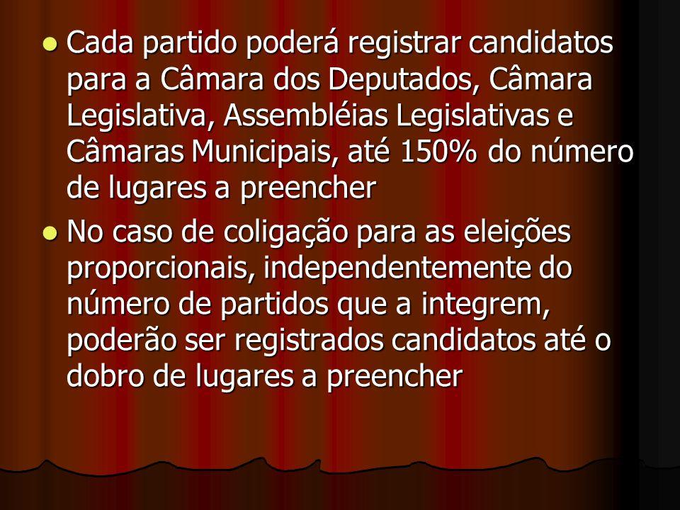 Cada partido poderá registrar candidatos para a Câmara dos Deputados, Câmara Legislativa, Assembléias Legislativas e Câmaras Municipais, até 150% do n