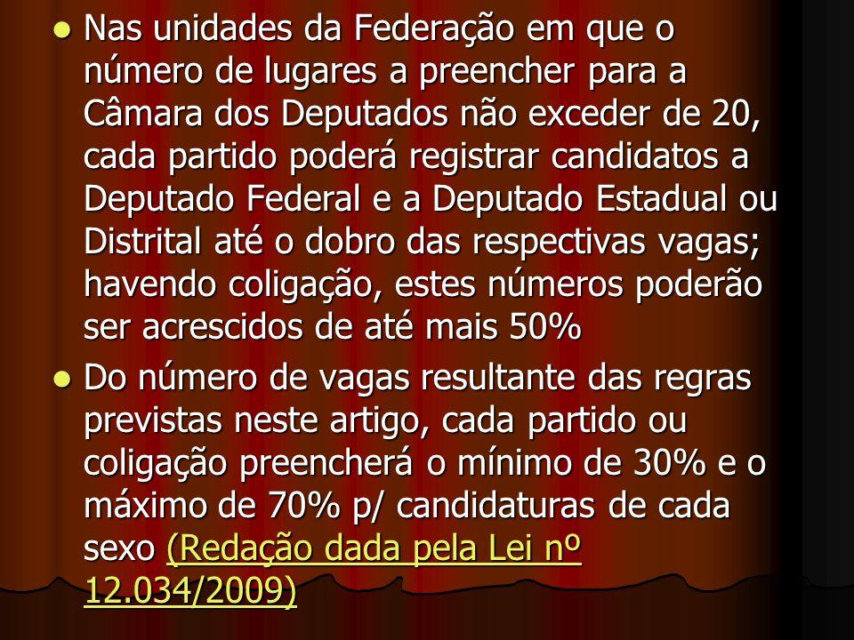 Nas unidades da Federação em que o número de lugares a preencher para a Câmara dos Deputados não exceder de 20, cada partido poderá registrar candidat
