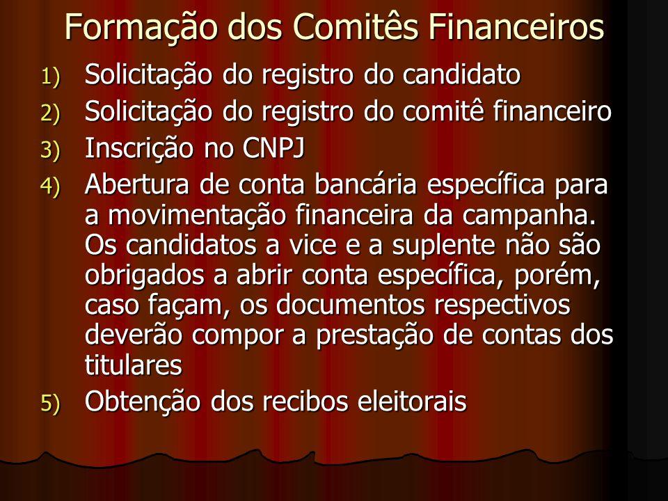 Formação dos Comitês Financeiros 1) Solicitação do registro do candidato 2) Solicitação do registro do comitê financeiro 3) Inscrição no CNPJ 4) Abert