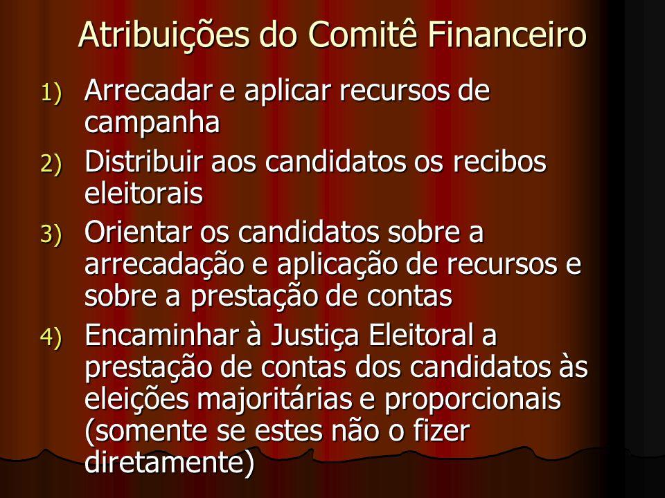 Atribuições do Comitê Financeiro 1) Arrecadar e aplicar recursos de campanha 2) Distribuir aos candidatos os recibos eleitorais 3) Orientar os candida