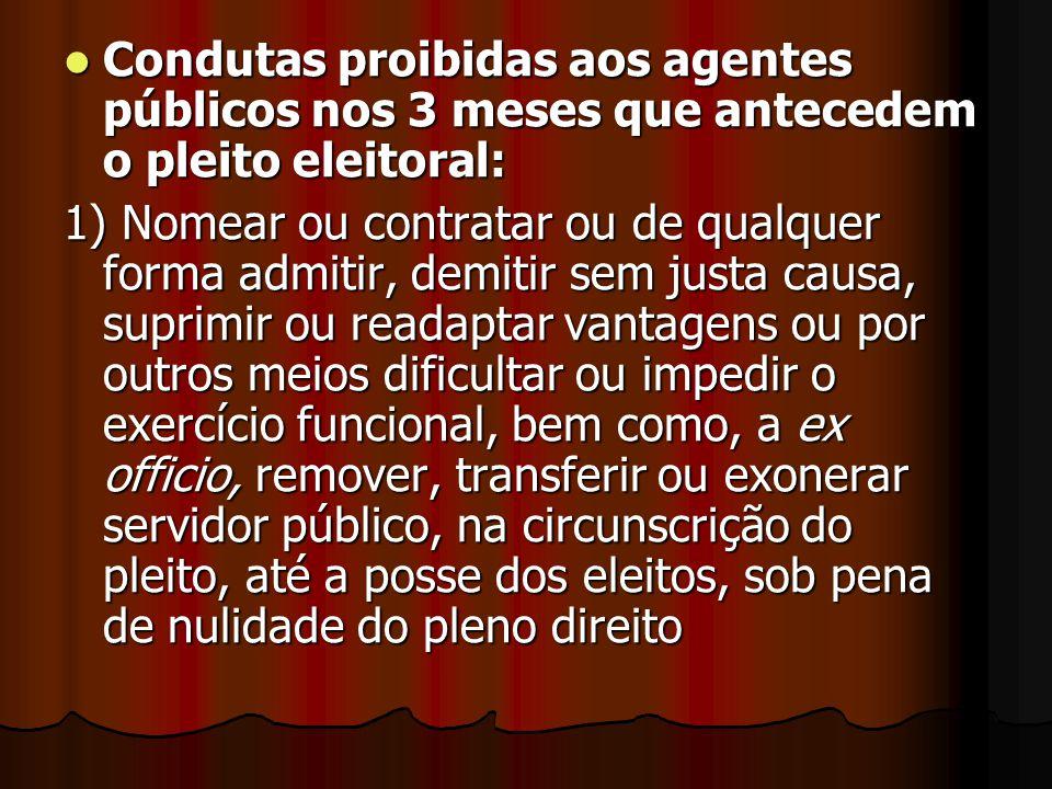 Condutas proibidas aos agentes públicos nos 3 meses que antecedem o pleito eleitoral: Condutas proibidas aos agentes públicos nos 3 meses que antecede