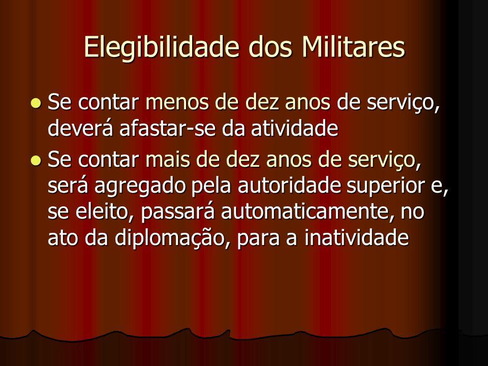 Elegibilidade dos Militares Se contar menos de dez anos de serviço, deverá afastar-se da atividade Se contar menos de dez anos de serviço, deverá afas