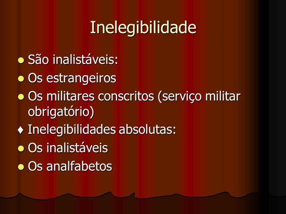 Inelegibilidade São inalistáveis: São inalistáveis: Os estrangeiros Os estrangeiros Os militares conscritos (serviço militar obrigatório) Os militares