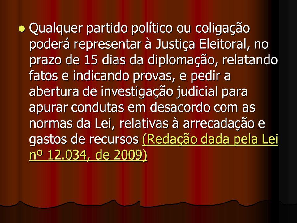 Qualquer partido político ou coligação poderá representar à Justiça Eleitoral, no prazo de 15 dias da diplomação, relatando fatos e indicando provas,