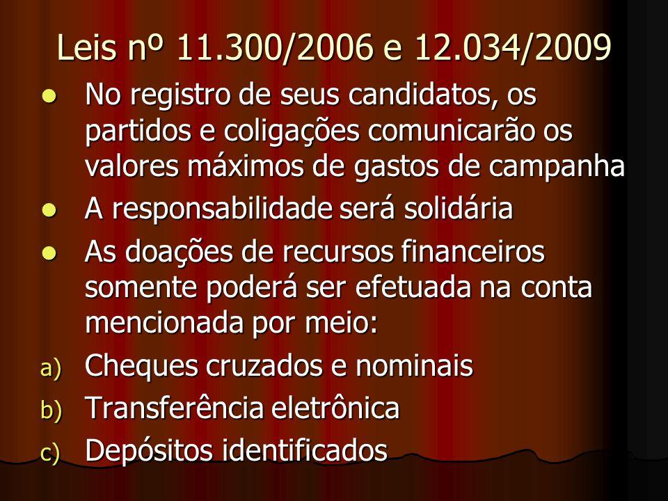 Leis nº 11.300/2006 e 12.034/2009 No registro de seus candidatos, os partidos e coligações comunicarão os valores máximos de gastos de campanha No reg