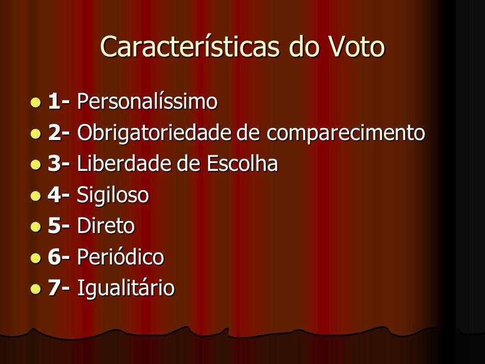 Características do Voto 1- Personalíssimo 1- Personalíssimo 2- Obrigatoriedade de comparecimento 2- Obrigatoriedade de comparecimento 3- Liberdade de