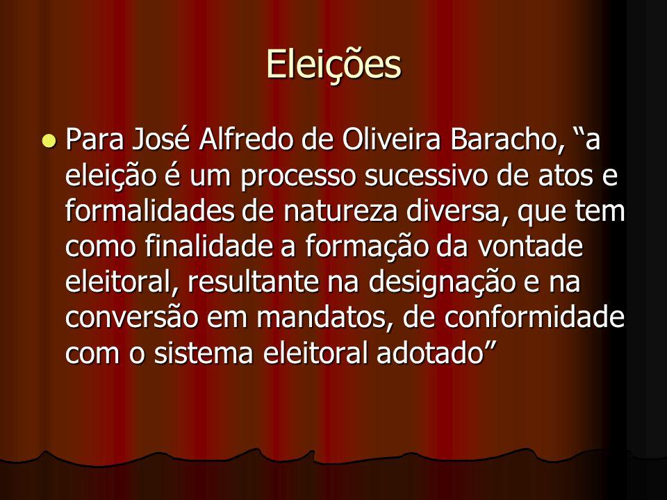 """Eleições Para José Alfredo de Oliveira Baracho, """"a eleição é um processo sucessivo de atos e formalidades de natureza diversa, que tem como finalidade"""