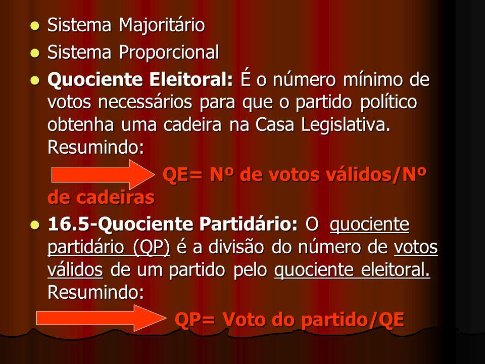 Sistema Majoritário Sistema Majoritário Sistema Proporcional Sistema Proporcional Quociente Eleitoral: É o número mínimo de votos necessários para que