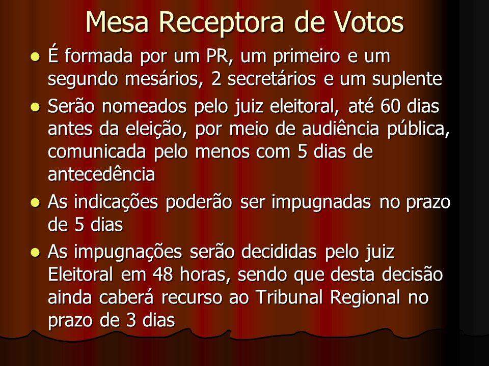 Mesa Receptora de Votos É formada por um PR, um primeiro e um segundo mesários, 2 secretários e um suplente É formada por um PR, um primeiro e um segu