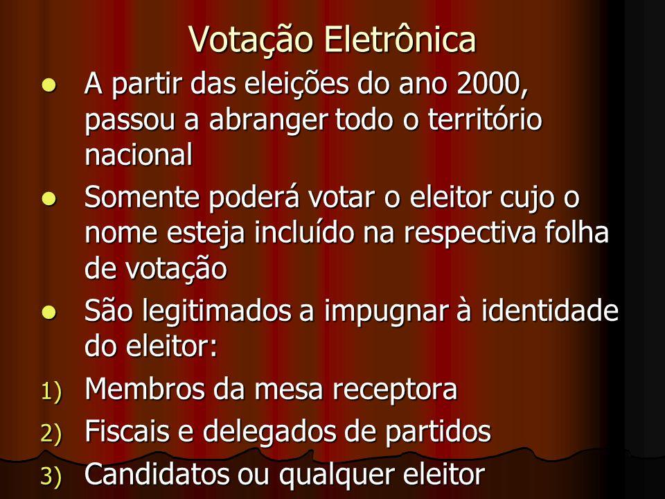 Votação Eletrônica A partir das eleições do ano 2000, passou a abranger todo o território nacional A partir das eleições do ano 2000, passou a abrange