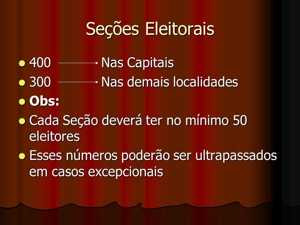 Seções Eleitorais 400 Nas Capitais 400 Nas Capitais 300 Nas demais localidades 300 Nas demais localidades Obs: Obs: Cada Seção deverá ter no mínimo 50