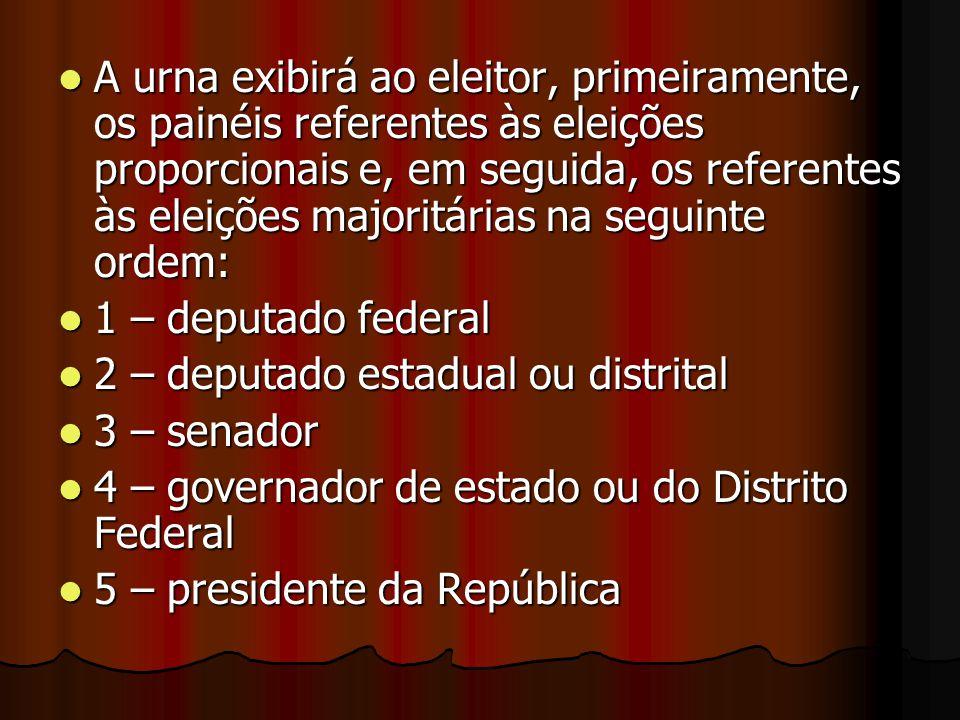 A urna exibirá ao eleitor, primeiramente, os painéis referentes às eleições proporcionais e, em seguida, os referentes às eleições majoritárias na seg