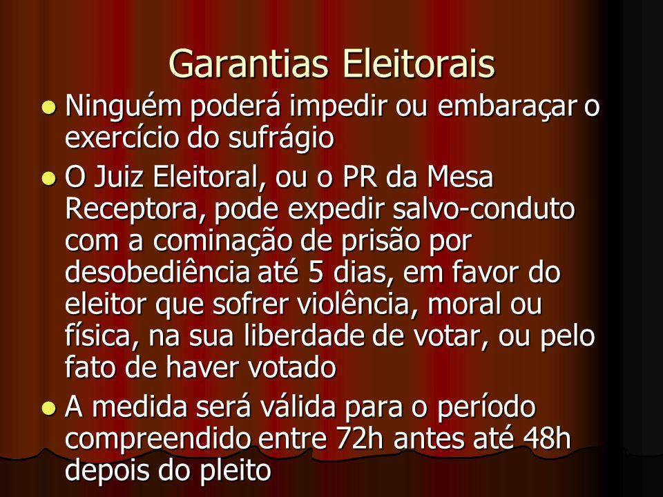 Garantias Eleitorais Ninguém poderá impedir ou embaraçar o exercício do sufrágio Ninguém poderá impedir ou embaraçar o exercício do sufrágio O Juiz El