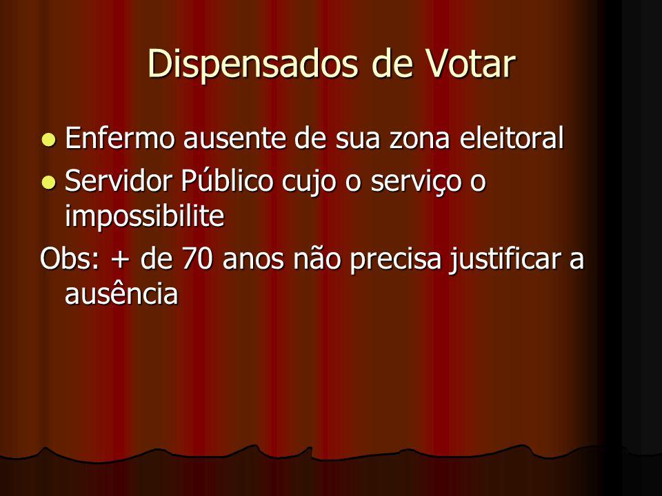 Dispensados de Votar Enfermo ausente de sua zona eleitoral Enfermo ausente de sua zona eleitoral Servidor Público cujo o serviço o impossibilite Servi