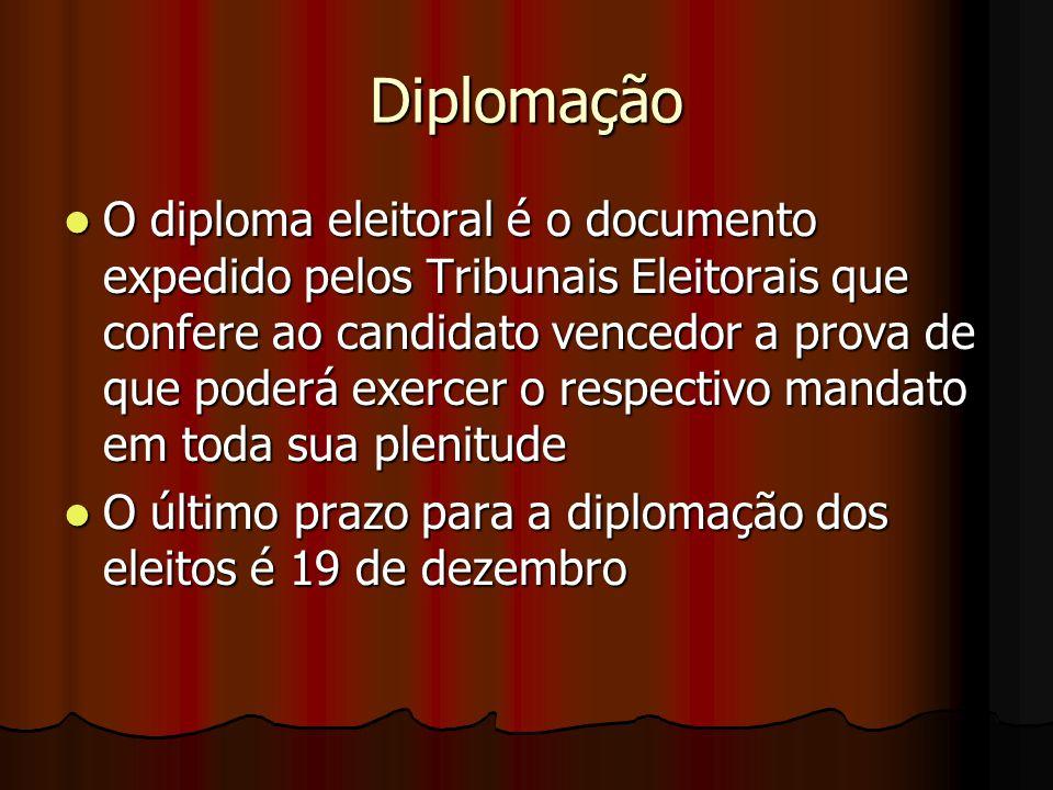 Diplomação O diploma eleitoral é o documento expedido pelos Tribunais Eleitorais que confere ao candidato vencedor a prova de que poderá exercer o res