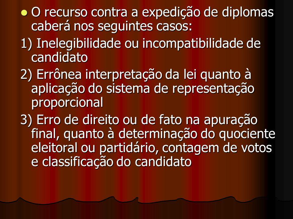 O recurso contra a expedição de diplomas caberá nos seguintes casos: O recurso contra a expedição de diplomas caberá nos seguintes casos: 1) Inelegibi