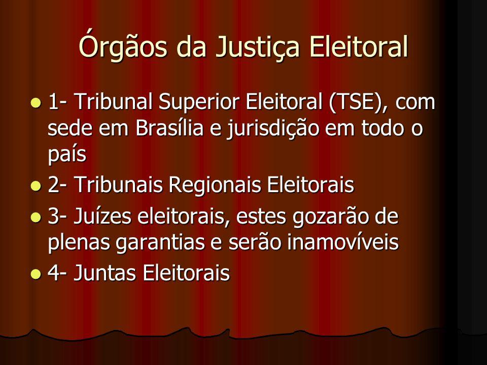 Órgãos da Justiça Eleitoral 1- Tribunal Superior Eleitoral (TSE), com sede em Brasília e jurisdição em todo o país 1- Tribunal Superior Eleitoral (TSE