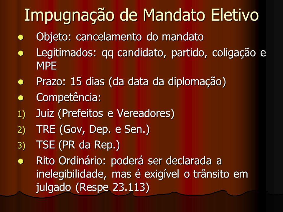 Impugnação de Mandato Eletivo Objeto: cancelamento do mandato Objeto: cancelamento do mandato Legitimados: qq candidato, partido, coligação e MPE Legi