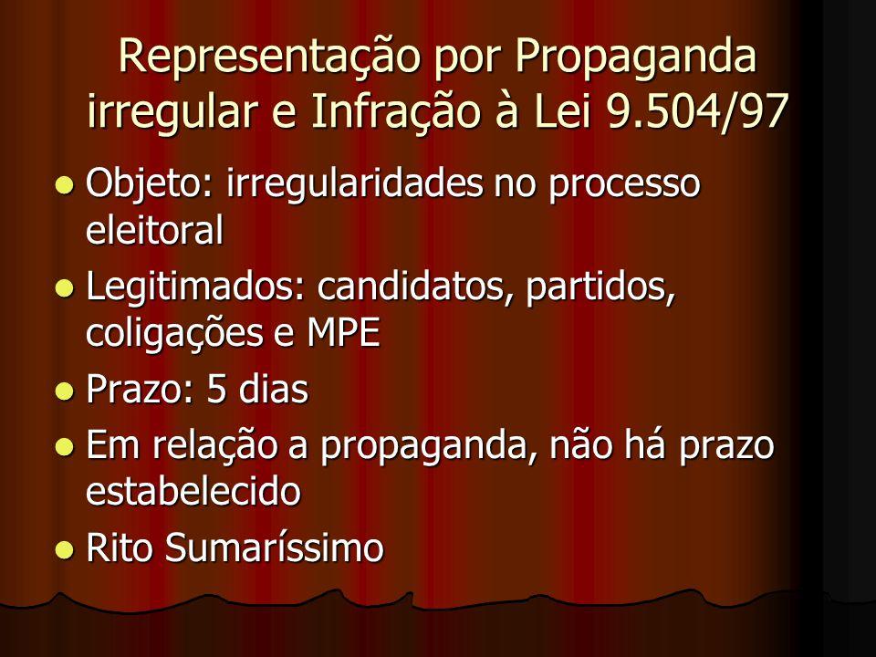 Representação por Propaganda irregular e Infração à Lei 9.504/97 Objeto: irregularidades no processo eleitoral Objeto: irregularidades no processo ele