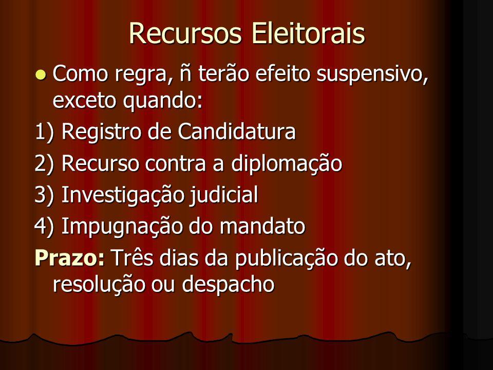 Recursos Eleitorais Como regra, ñ terão efeito suspensivo, exceto quando: Como regra, ñ terão efeito suspensivo, exceto quando: 1) Registro de Candida