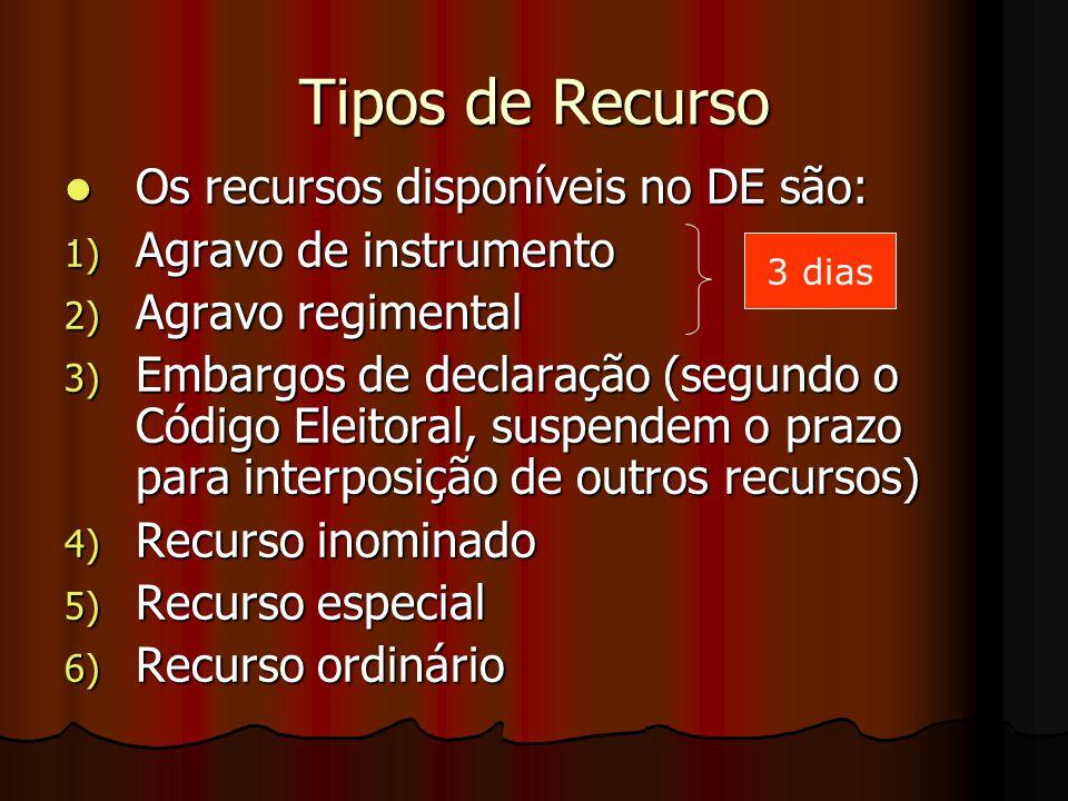 Tipos de Recurso Os recursos disponíveis no DE são: Os recursos disponíveis no DE são: 1) Agravo de instrumento 2) Agravo regimental 3) Embargos de de
