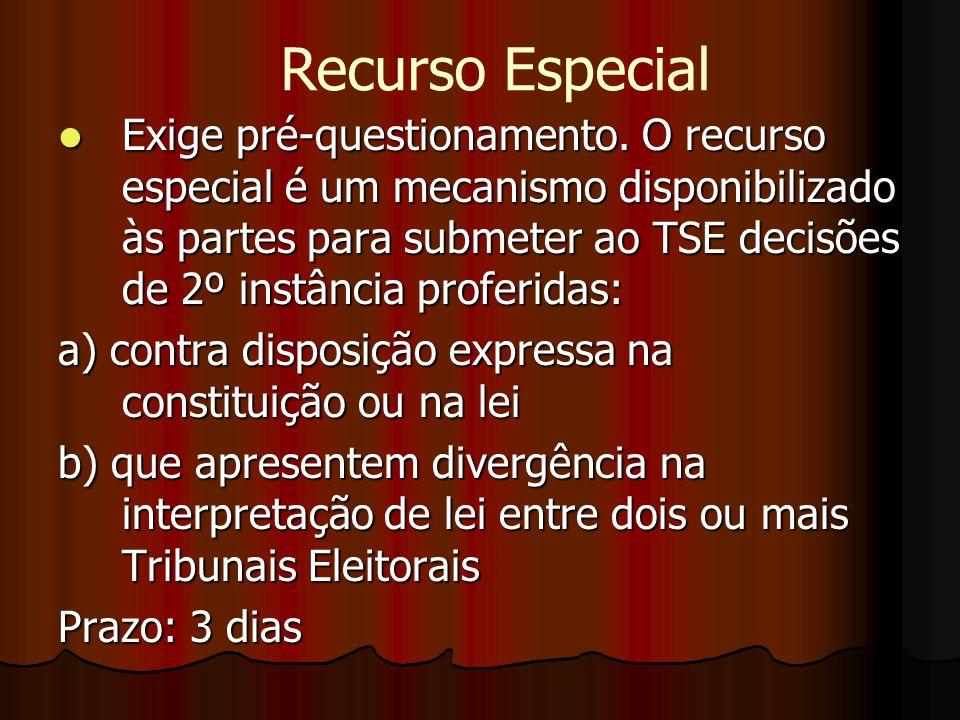 Exige pré-questionamento. O recurso especial é um mecanismo disponibilizado às partes para submeter ao TSE decisões de 2º instância proferidas: Exige