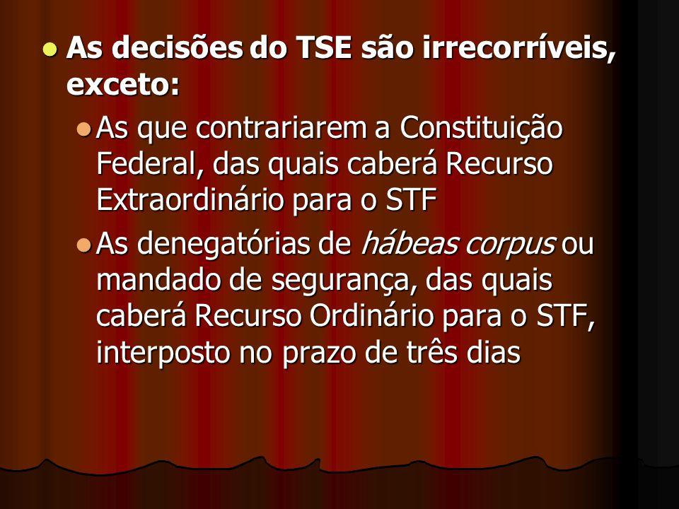 As decisões do TSE são irrecorríveis, exceto: As decisões do TSE são irrecorríveis, exceto: As que contrariarem a Constituição Federal, das quais cabe