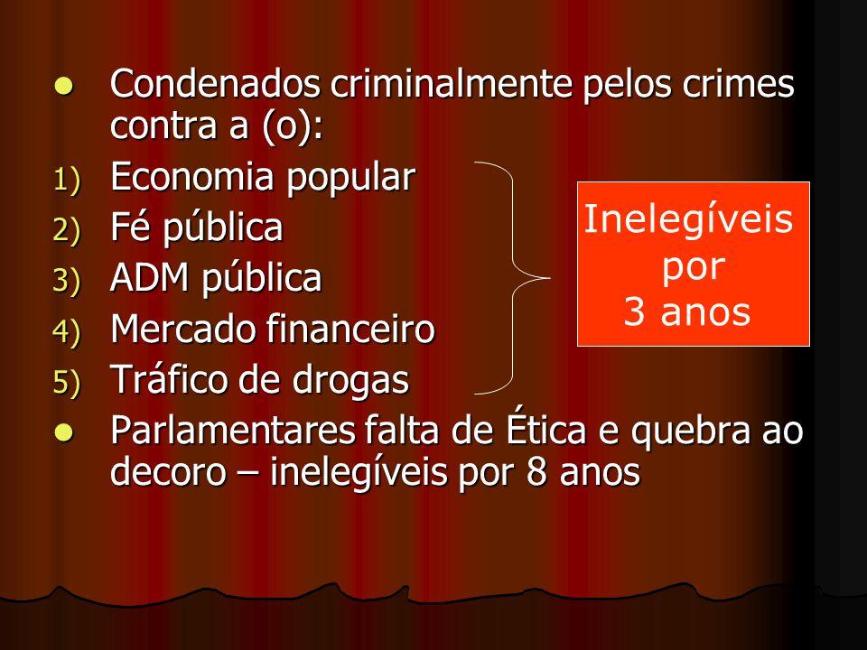 Condenados criminalmente pelos crimes contra a (o): Condenados criminalmente pelos crimes contra a (o): 1) Economia popular 2) Fé pública 3) ADM públi