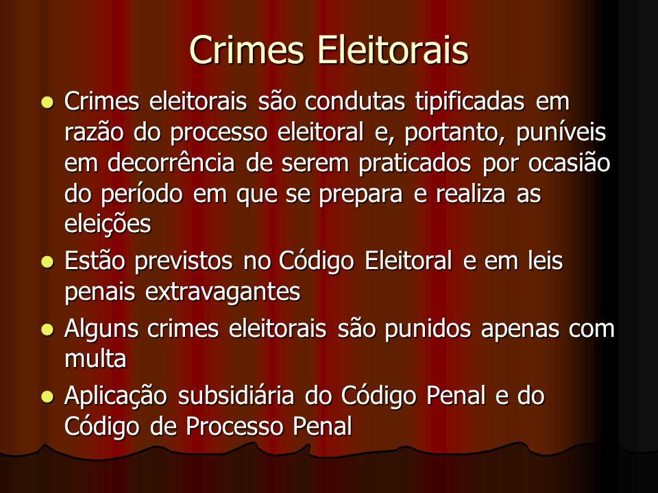 Crimes Eleitorais Crimes eleitorais são condutas tipificadas em razão do processo eleitoral e, portanto, puníveis em decorrência de serem praticados p